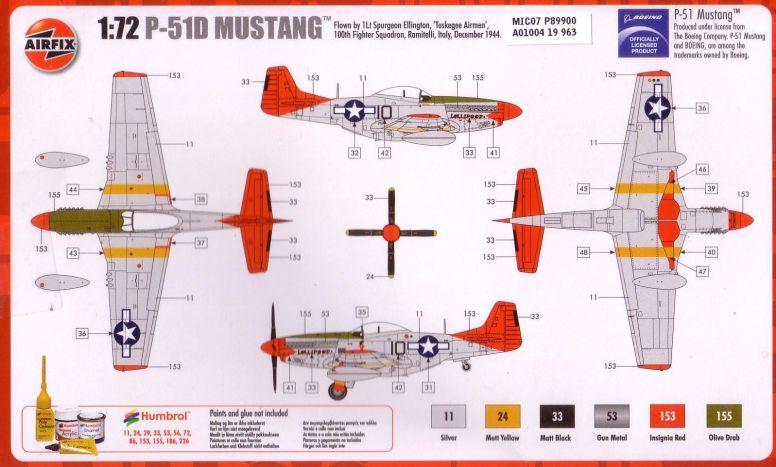 Profilen Airfix har valgt: Flyet til Løytnant Spurgeon Ellington.  Med både pin-up og navnelogo.  Typisk USAAF!