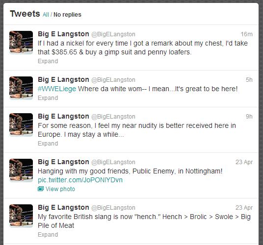 Big E  har heldigvis fortsatt WWEs morsomste twitter... (Twitter)