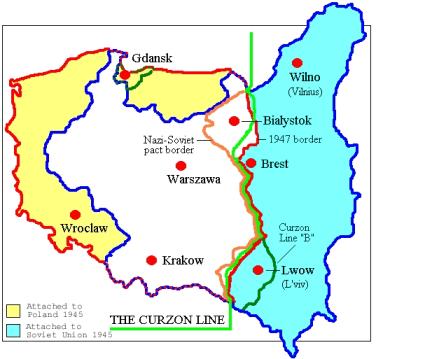 Polens grenser før og etter andre verdenskrig. (Wikipedia)