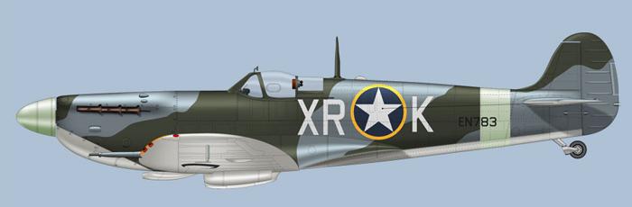 En Spit  Mk. Vb fra 334FS, tidligere 71. (Eagle) squadron. (Clavework Graphics)