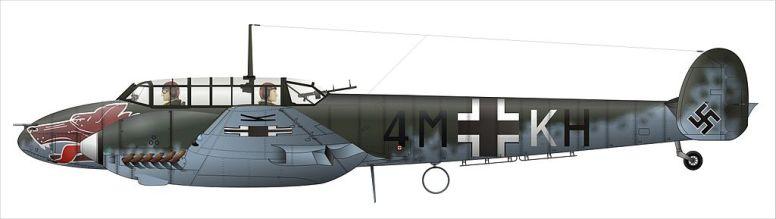 Bf110-E  fra 1. Staffel Ergänzungs-Zerstörergruppe (1./Erg.Zerst.Gr.)