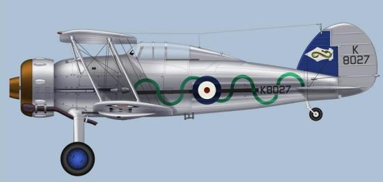 En Gloster Gladiator fra 87. skvadron i 1937. Okke akkurat kamuflasje!