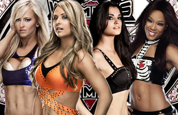 De 4 semifinalistene Fra venstre: Summer Rae, Emma, Paige, Alicia Fox (NXT)