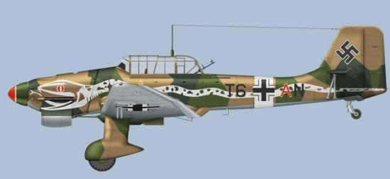 Tyskland hadde jo aldri noen tunge bombefly i særlig antall,  men de hadde den beryktede Ju87 Stuka,  her fra 5.II/StG 2 Immelman