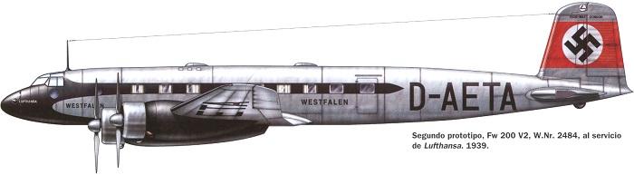 En Focke-Wulf Fw200 fra Lufthansa. Sivilt registreringsnummer, og nasjonalflagg på halen.