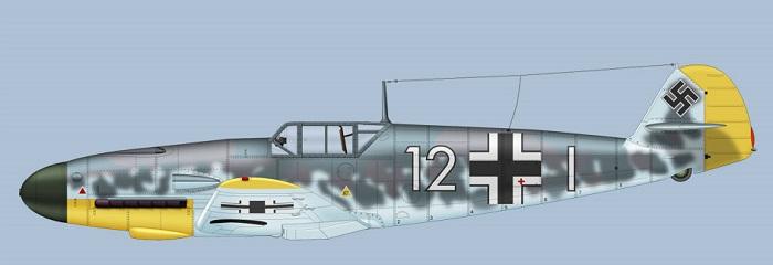 "Bf109F-2 ""Weiss 12"" fra 7./JG2  (Bilde: Clavework Graphics)"