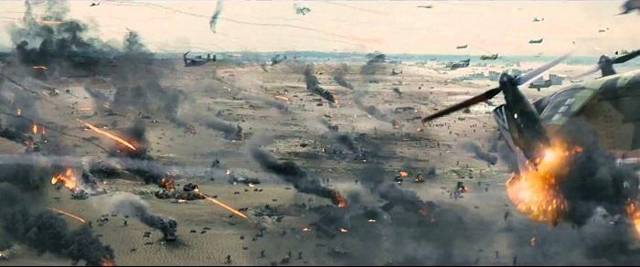 Og nei, at en luftbåren landingsstyrke lander på en strand er medregnet, det er tydelig fra oversiktsbildene at det tyngre utstyret fraktes med massive hovercrafter...
