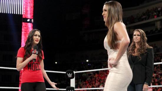 """Nikki, what's gotten into you (besides John Cena's Jr and 800g of medi-grade silicon)??"" (WWE)"