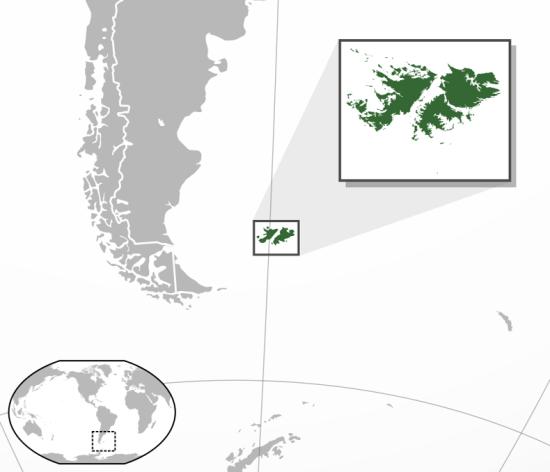 Falklandsøyene ligger omtrent like langt fra Argentina som Sør Norge ligge fra London... (Wikipedia)