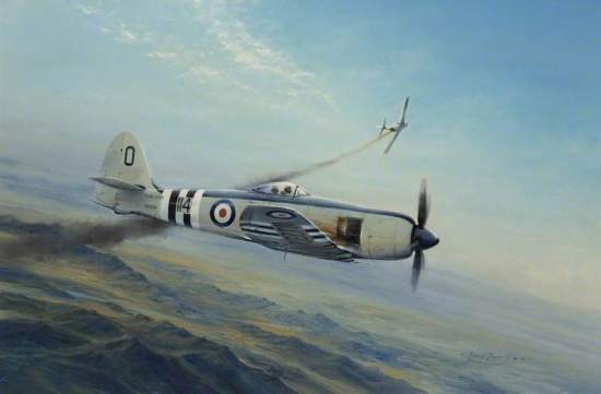 Sea Fury, MiG Encounter by Robert Taylor Date painted: 1981 Oil on canvas, 71 x 106.8 cm Collection: Fleet Air Arm Museum