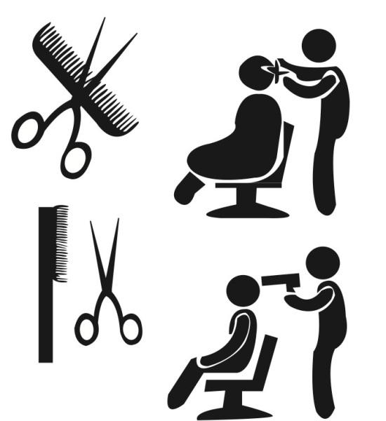 Lite brukte pictogram Fig. 1: Hvis du klippe i stykker kammen, vil frisøren skyte deg.