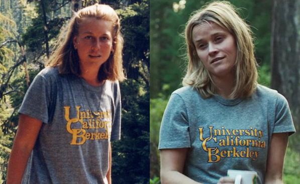 Til høyre:Cheryl Strayed fotografert på turen i 1995 Til venstre: Reese Witherspoon i filmen