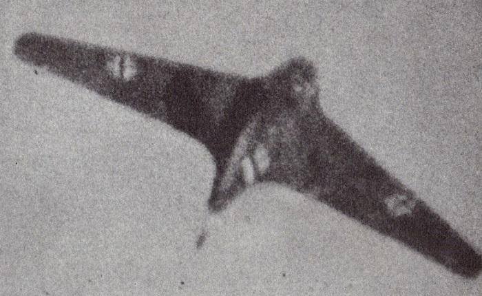 En Me163 fanget i våpenkameraene til en amerikansk P-47 (via Wikipedia)