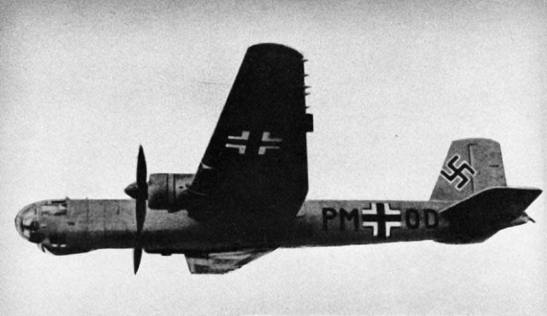 """Den femte prototypen av He 177, V5, med Stamkjennetegn  """"PM + OD"""" og tidlig cockpitdesign som ble brukt på de åtte første prototypene."""