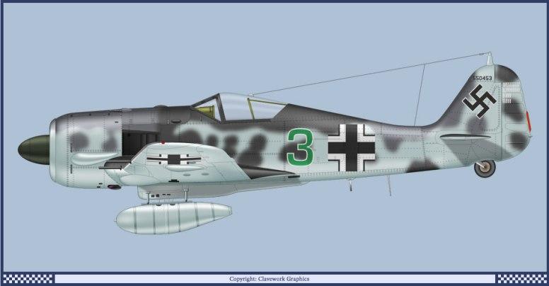 """Green 3"" Stab/JG300 -Hauptmann Friedrich-Karl Muller. (Bilde: Clavework Graphics)"